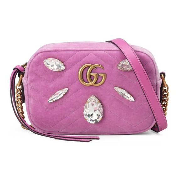 1d0607f83 Gucci Bags | New Marmont Mini Bag Pink Velvet Crystal | Poshmark